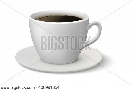 Realistic Coffee Cup. Espresso 3d Mockup, White Mug On Plate Side View, Hot Beverage In Ceramic Croc