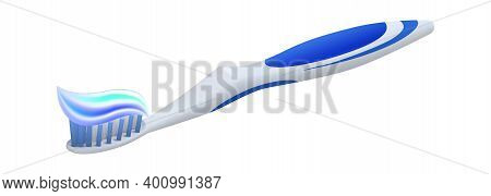 Toothpaste On Toothbrush. Realistic 3d Equipment For Oral Hygiene. Isolated Plastic Stick With Brist