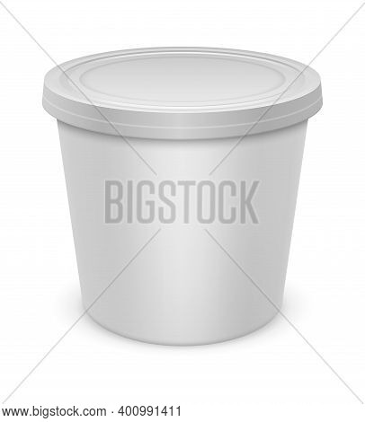 Yoghurt Container. Realistic White Blank Package Mockup, Plastic Packaging With Closed Cap, Round Bo