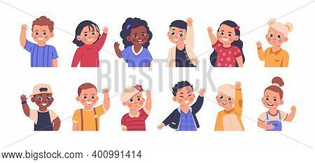 Children Waving. Cartoon Elementary School Kids Smiling And Showing Goodbye Or Welcome Gesture. Litt