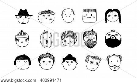 Minimal Doodle Avatars. Hand Drawn Human Faces. Cartoon Outline Young Or Adult Characters With Headg