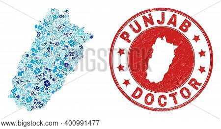 Vector Collage Punjab Province Map Of Dose Icons, Analysis Symbols, And Grunge Health Care Stamp. Re