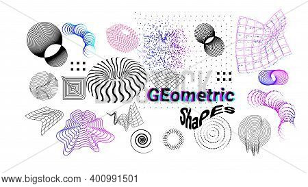 Digital Shapes. Abstract Graphic Elements, Outline Geometric Forms. Modern Dynamic Figures And Surfa