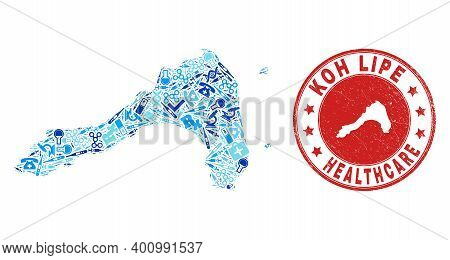 Vector Collage Koh Lipe Map With Vaccination Icons, Chemical Symbols, And Grunge Doctor Seal Stamp.