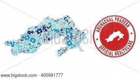 Vector Mosaic Arunachal Pradesh State Map With Treatment Icons, Analysis Symbols, And Grunge Health