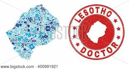 Vector Collage Lesotho Map With Dose Icons, Chemical Symbols, And Grunge Health Care Imprint. Red Ro