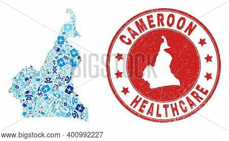 Vector Collage Cameroon Map With Treatment Icons, Analysis Symbols, And Grunge Health Care Watermark