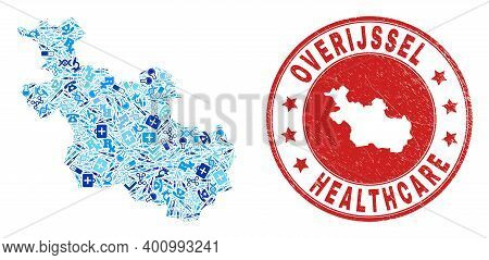 Vector Mosaic Overijssel Province Map With Dose Icons, First Aid Symbols, And Grunge Doctor Stamp. R