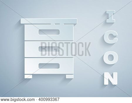 Paper Cut Drawer With Documents Icon Isolated On Grey Background. Archive Papers Drawer. File Cabine