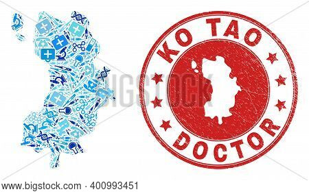 Vector Mosaic Ko Tao Map With Vaccination Icons, Medicine Symbols, And Grunge Health Care Rubber Imi