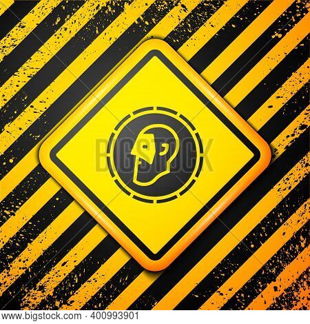 Black Ancient Coin Icon Isolated On Yellow Background. Warning Sign. Vector