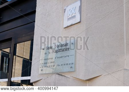 Bordeaux , Aquitaine  France - 12 19 2020 : Enm Logo And Text Sign Front Of Entrance Ecole Nationale