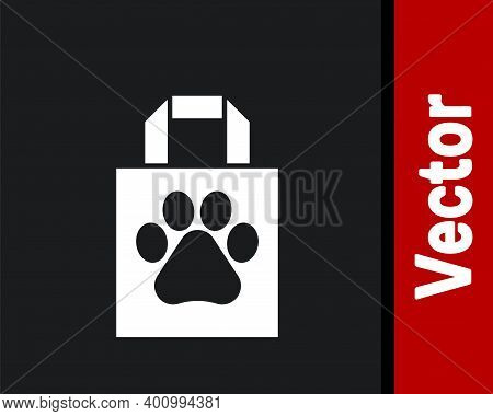 White Shopping Bag Pet Icon Isolated On Black Background. Pet Shop Online. Animal Clinic. Vector