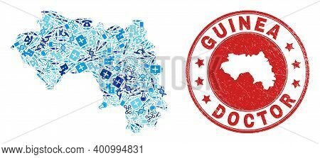 Vector Mosaic Republic Of Guinea Map Of Healthcare Icons, Laboratory Symbols, And Grunge Healthcare