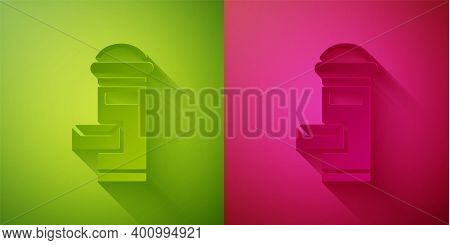 Paper Cut Traditional London Mail Box Icon Isolated On Green And Pink Background. England Mailbox Ic