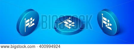 Isometric Flag Of England On Flagpole Icon Isolated On Blue Background. Blue Circle Button. Vector