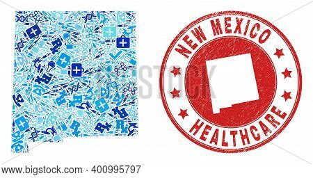 Vector Collage New Mexico State Map With Syringe Icons, Chemical Symbols, And Grunge Healthcare Seal