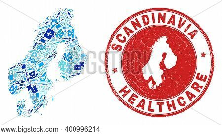 Vector Collage Scandinavia Map With Vaccine Icons, Chemical Symbols, And Grunge Doctor Imprint. Red