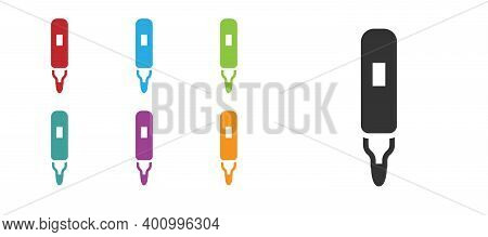 Black Marker Pen Icon Isolated On White Background. Felt-tip Pen. Set Icons Colorful. Vector