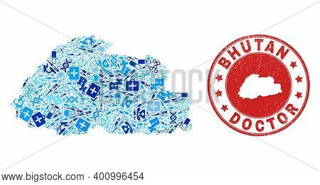 Vector Collage Bhutan Map With Dose Icons, Test Symbols, And Grunge Health Care Rubber Imitation. Re