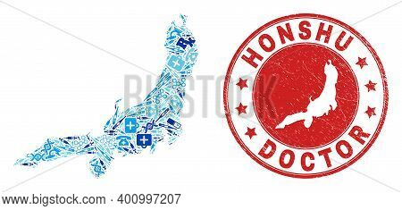 Vector Mosaic Honshu Island Map With Injection Icons, Chemical Symbols, And Grunge Healthcare Waterm