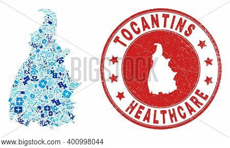 Vector Collage Tocantins State Map With Healthcare Icons, Receipt Symbols, And Grunge Healthcare Imp