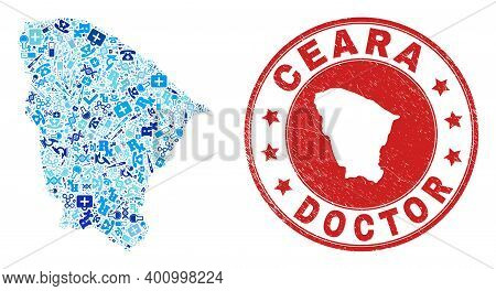 Vector Mosaic Ceara State Map Of Vaccine Icons, Laboratory Symbols, And Grunge Health Care Rubber Im