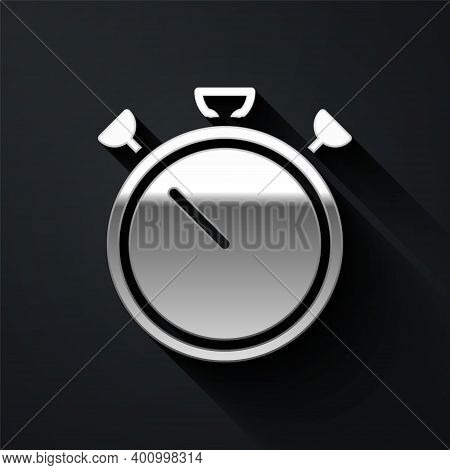 Silver Stopwatch Icon Isolated On Black Background. Time Timer Sign. Chronometer Sign. Long Shadow S