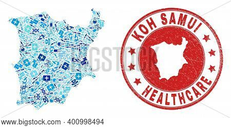 Vector Mosaic Koh Samui Map With Treatment Icons, Hospital Symbols, And Grunge Doctor Seal Stamp. Re
