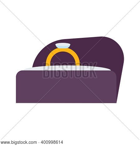 Diamond Ring In Velvet Box Flat Icon Vector Illustration