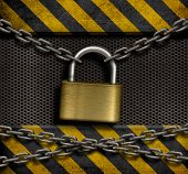 closed lock with chains and metal industrial background poster
