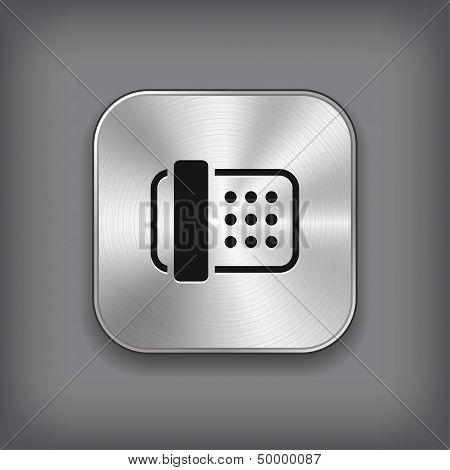 Fax Icon - Vector Metal App Button