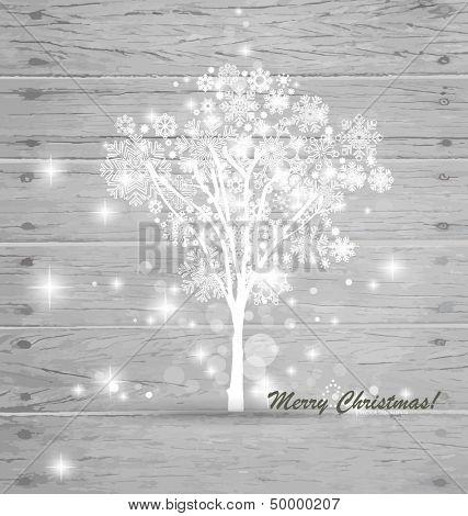 Christmas tree on wood background. Vector illustration.