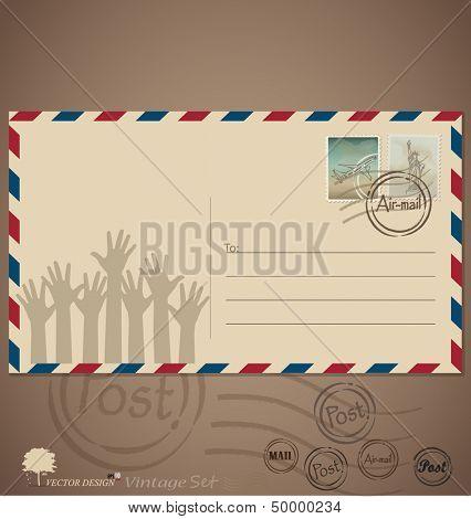 Vintage envelope designs with postage stamps. Vector illustration.