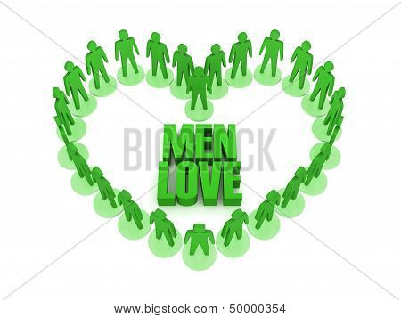 Men love. Over white background. Concept 3D illustration