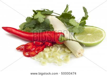 Red chilli, lemon grass, lime and cilantro or coriander, isolated.