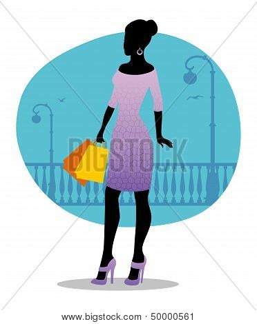 Beautiful Fashion Woman With Bags