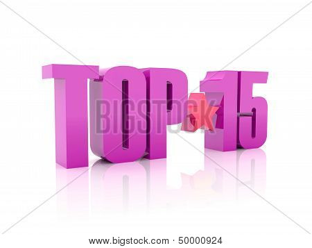 Top fifteen violet word isolated on white background.