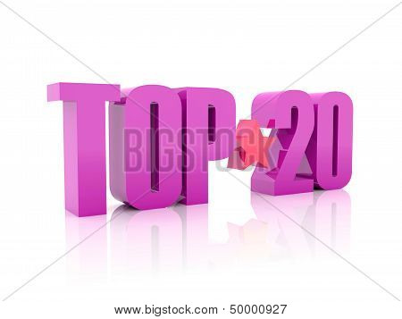 Top twenty violet word isolated on white background.