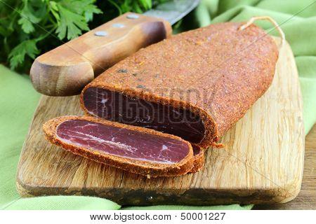 Cured meat - basturma with hot pepper