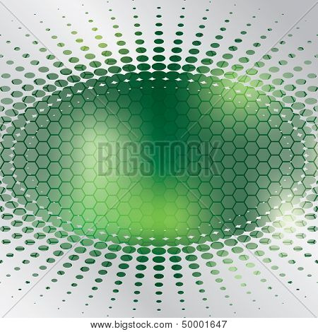 Abstract halftone and hexagon design with glowing green background poster