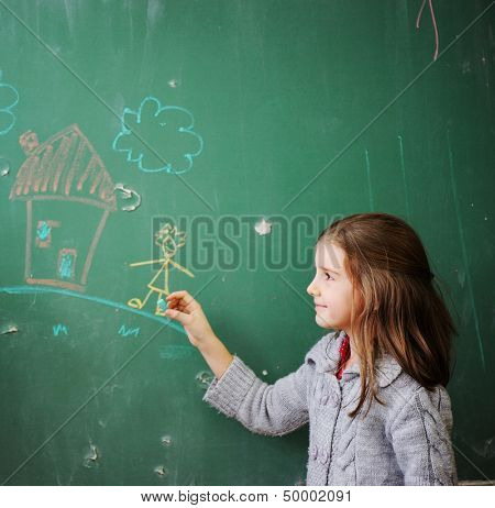 Cute lovely school children at classroom having education activities