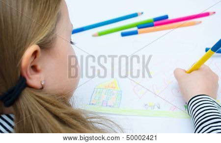 Girl Drawing With Pencils