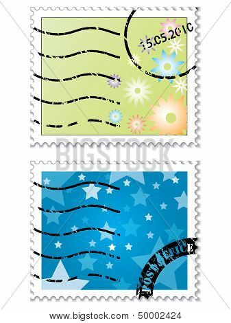 Cool Flowers And Stars Stamp Designs