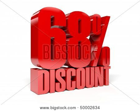 68 percent discount. Red shiny text. Concept 3D illustration.