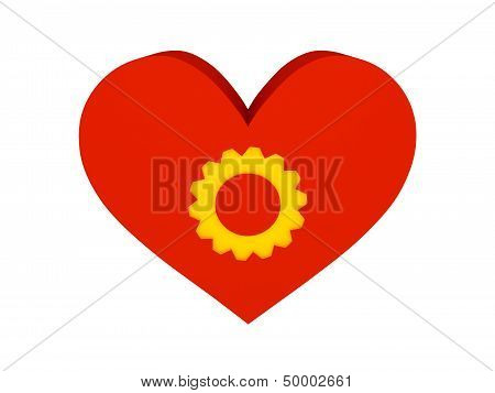 Big red heart with cogwheel symbol. Concept 3D illustration.