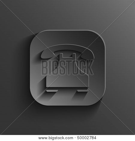 Phone Icon - Vector Black App Button