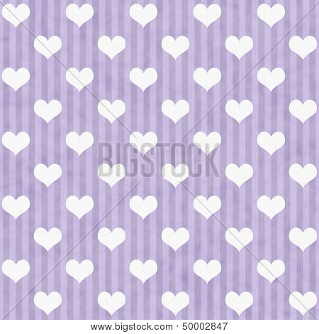 Purple And White Hearts And Stripes Fabric Background