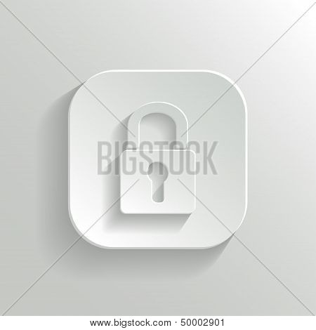 Lock Icon - Vector White App Button