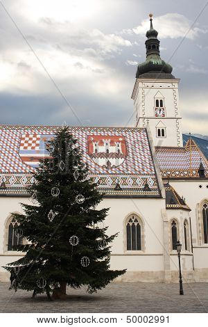St. Mark's Chruch In Zagreb During Christmas Season